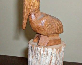 Vintage Hand Carved Wood Pelican Figurine