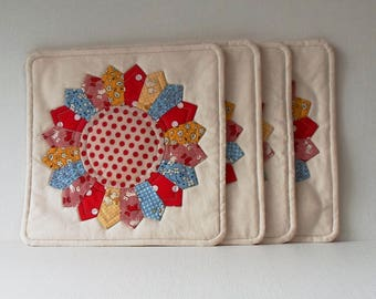 Handmade Placemats Set Cotton Quilted Snack Mats of Four