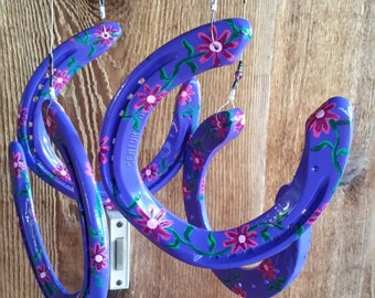 Wind Chime Purple with Hand Painted Pink Daisies on Recycled Horse Shoes