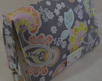 Diaper Clutch / Paisley and polka dots