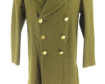Vintage 40s WWII Wool Military Overcoat Coat Mens 38 Deadstock [H33Z_6-8_Long]
