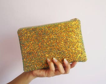 Rust Gold Glitter Makeup Bag, Rust Gold Sparkly Bag, Glitter Party Bag, Rust Gold Makeup Bag, Gifts For Her, Rust Gold Cosmetic Bag,