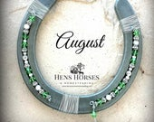 Horseshoe | Horseshoe Décor | Horse Décor | Birthstone Horseshoe | August Peridot | Lucky Horseshoe | Beaded Horseshoe | Horse Gifts