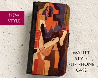 iPhone Case (all models) - Juan Gris - Harlequin and Guitar - Wallet style flip case -Samsung Galaxy ,S4,S5,S6,S7Edge,Note5,S8 & more