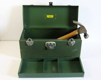 Vintage Metal Tool Box - Beach Industries Green Tool Kit - Triple Latch Closure - Removable Tray - Portable Storage Box - Industrial Decor