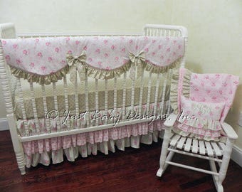 Shabby Chic Baby Bedding Set Annalise - Girl Baby Bedding, Crib Rail Cover, Ruffle Skirt,  Bumper Free Bedding, Rose Crib Bedding