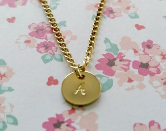 Initial Gold Necklace - Personalized Jewelry - Name Necklace - Hand Stamped - Girls Jewelry