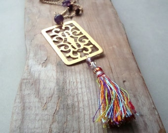 Boho Tassel Necklace With Brass Rectangle, Amethyst and Crystal Statement Jewelry February Birthstone Jewelry Bohemian Summer Fashion