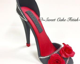 Gumpaste high heel/Fondant high heel/Sugar Heels/High heel topper/Fashion topper/Fondant shoe/Cake topper/High heel Cake/Black and red shoe/