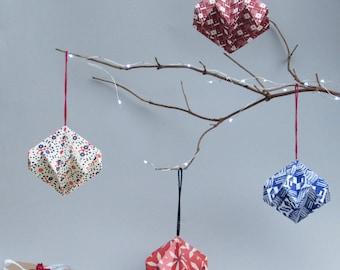 Scandi Patterned Diamond Ornament