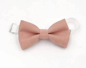 Dusty Rose Linen Bow-tie -  Adjustable neck-strap - Groomsmen bow tie -Ring bearer bow tie