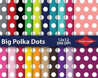 50% SALE Polka dots digital paper, scrapbook paper, white dots, basic colors, red, pink, green, blue, teal, black, brown, yellow, orange, pu