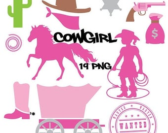 50% SALE Cowgirl clipart, cowgirl birthday, digital paper, horse, wanted, cactus, gun, boot hat, money, pink, brown, gray, sheriff badge, ru