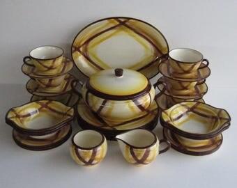 "Metlox -Poppytrail-Vernon- ""Organdie"" Pattern,  Dinnerware for 6 Dining Guests, plus Serving Pieces, 1937-1958"