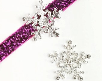 25mm Silver Rhinestone Snowflake Flat Back - Clear Metal without Shank, Flower Center Embellishment, Winter Frozen Theme - Set of 2 or 6
