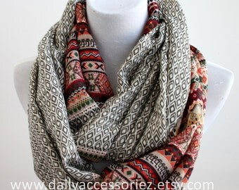 Olive Green Aztec Infinity Scarf, Geometric Scarf, Gift For Her, Christmas Gift, For Her, For Women, Fashion Scarves, Gift Idea