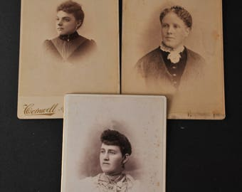 Lot of Three Victorian Women Cabinet Cards