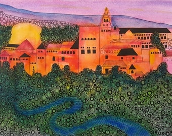 Alhambra Painting - Original Painting on Paper