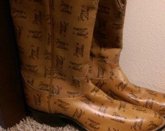 Vintage Tony Lama Brown Cowboy Boots, Display From the Showroom in El Paso, Texas.
