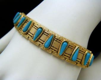 Vintage Bracelet Faux Turquoise Gold Tone Mesh