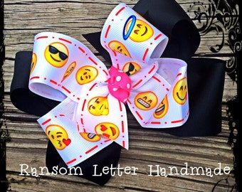 Large Pink Black Yellow Emoji Hair Bow Happy Face Nerd Birthday Party Decorations Outfit Emoji Gift Invitations Party Emoticons Emotions Fac