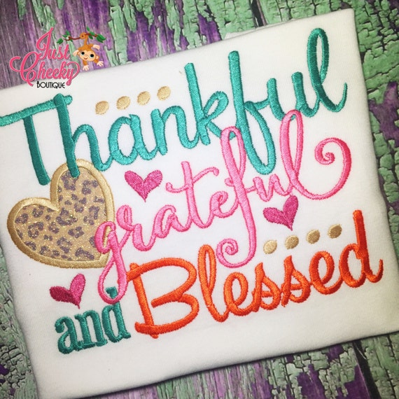 Thankful Grateful and Blessed Embroidered Thanksgiving Shirt - Girls Thanksgiving Shirt - Fall Shirt - Turkey Day Shirt - Kids Thanksgiving