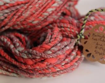 Hand Spun Babydoll Southdown 2-ply yarn, 90yds Aran/Bulky