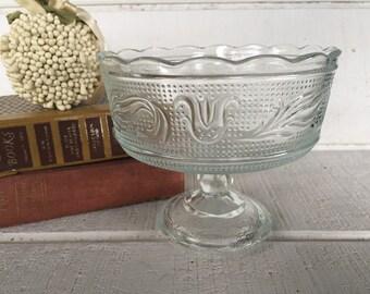 Vintage glass pedestal bowl, clear glass candy dish, vintage wedding serving white glass bowl cottage chic decor, Farmhouse charm Brody bowl