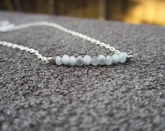 Minimalist Beaded Silver Necklace: Neutrals