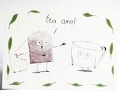 Teeliebhaber Postkarte für verliebte Teetrinker