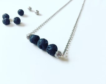 3 Black Lava Necklace, Essential Oil Diffuser, Cross Bar Necklace, Clay Lava Bead, Minimalist, Modern Aromatherapy Jewelry