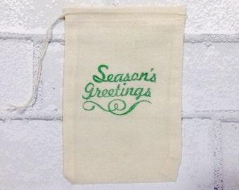 Christmas Favor Bags | Season's Greetings Muslin Bag Holiday Party Favor Gift Bag Vintage Nostalgic Cloth Bags Gift Exchange