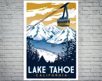 Lake Tahoe Vintage Travel Poster