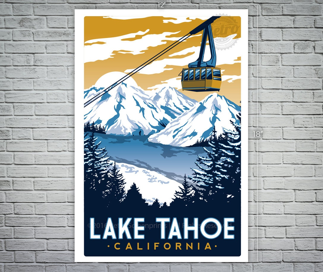 Vintage Travel Trailers: Lake Tahoe Vintage Travel Poster