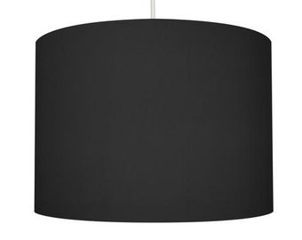 Black Linen Drum Lampshade
