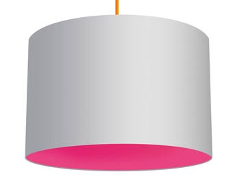 White Linen Fabric Drum Lampshade, Contrasting Azalea Bright Pink Cotton Lining, Small Lampshade 20cm - Large Lampshade 40cm or Custom Size