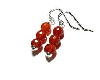 Carnelian Earrings Sterling Silver Carnelian Drop Earrings Natural Stone Earrings Long Bead Earrings Orange Silver