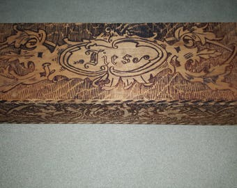 Vintage pyrography box/ handmade vintage tie box/old wooden box/