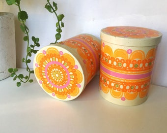 Vintage pair of Ethel von Horn Ira tin canisters. Denmark. Scandinavian design Retro lace  pattern orange and pink colors retro tin canister