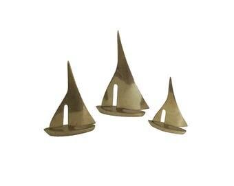 Vintage Brass Sailboat Figurine Set of 3