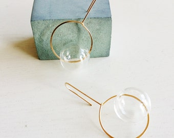ROUND & ROUND EARRINGS _CLEAR | circle earrings, gold earrings, bubbles, clear, dangle earrings, minimalist earrings, glass jewelry |