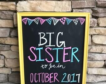Big sister pregnancy chalkboard announcement large version