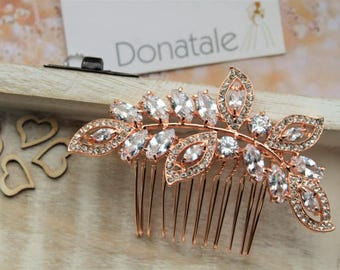SALE Rose Gold Crystal Hair Comb, Bridal hair Comb, Wedding headpiece, Wedding hair piece, Bridal headpiece , Bridal Accessories