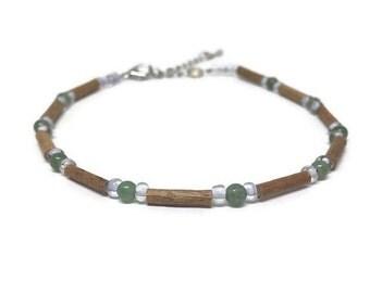 Hazelwood anklet bracelet with green aventurine