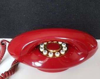 Mid Century Modern Telephone, 1970's Red Burgundy Telephone, Genie, Glam Telephone