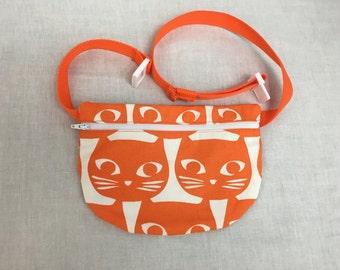 Orange Cat Flat Zipper Fanny Pack, Waist Pack, Festival Bag, Hip Pouch