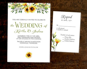 Sunflower Swag Wedding Invitations Printed Personalized