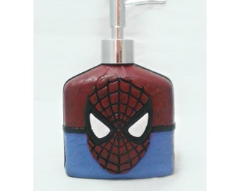 Spiderman Soap Dispenser, mixed media and polymer clay soap pump