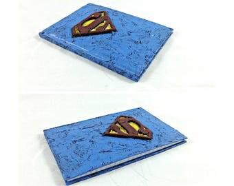 Superman Logo Blank Journal, superhero mixed media diary