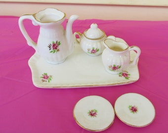 Bone China Minature Tea Set Roses with  Gold Trim Doll House 7 Pc
